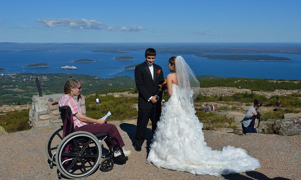 Acadia, Maine, Wedding, Disabled, Bride, Groom
