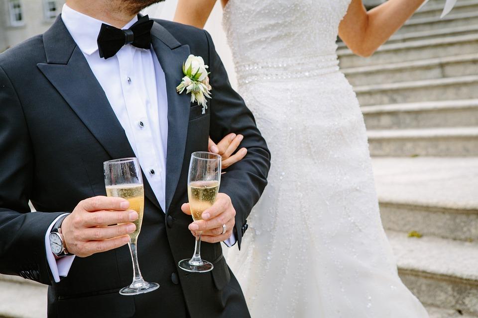 Wedding, Ceremony, Champagne, Glasses, Newlyweds