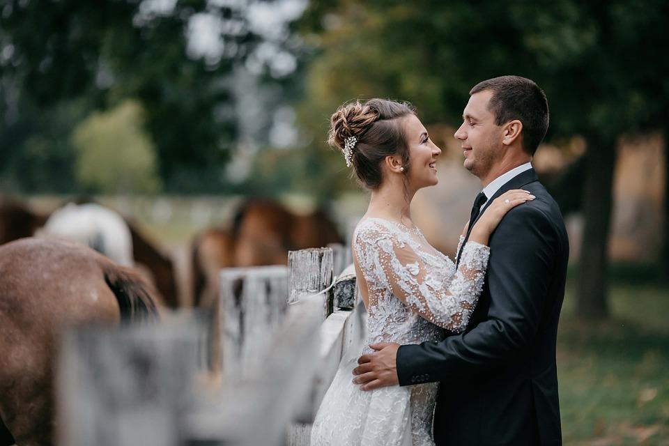Wedding, Couple, Newlyweds, Bride And Groom