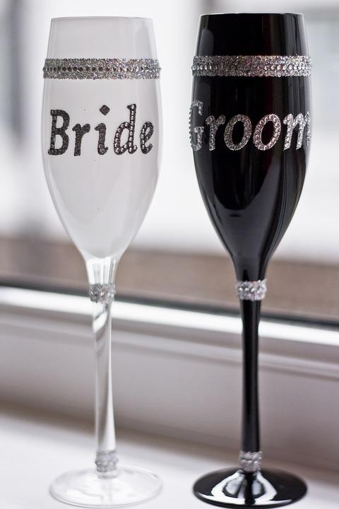 Goblets, Glasses, Glass, Drink, Wedding, Bride, Groom