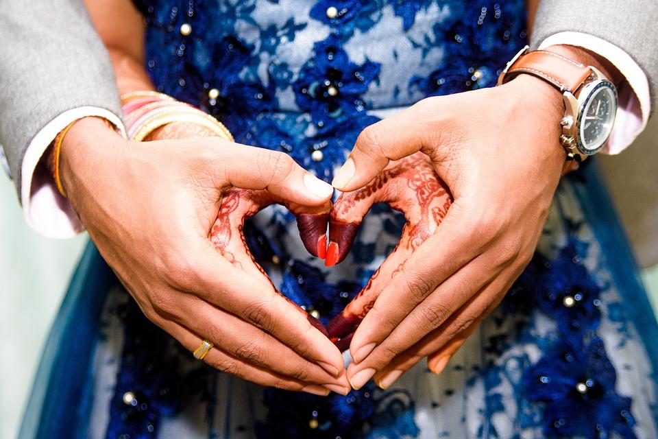 Wedding, Holding Hands, Heart, Love, Henna, Couple