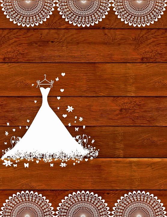 Wedding Invitation, Rustic, Wooden, Lace, Wedding Dress