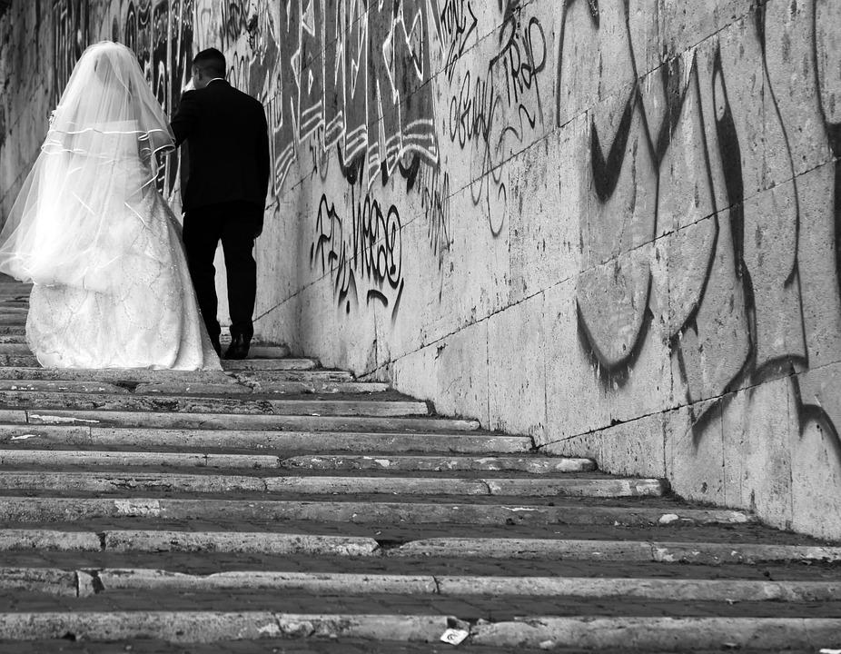 Wedding, Graffiti, Love, Marriage, Groom, Bride, Couple