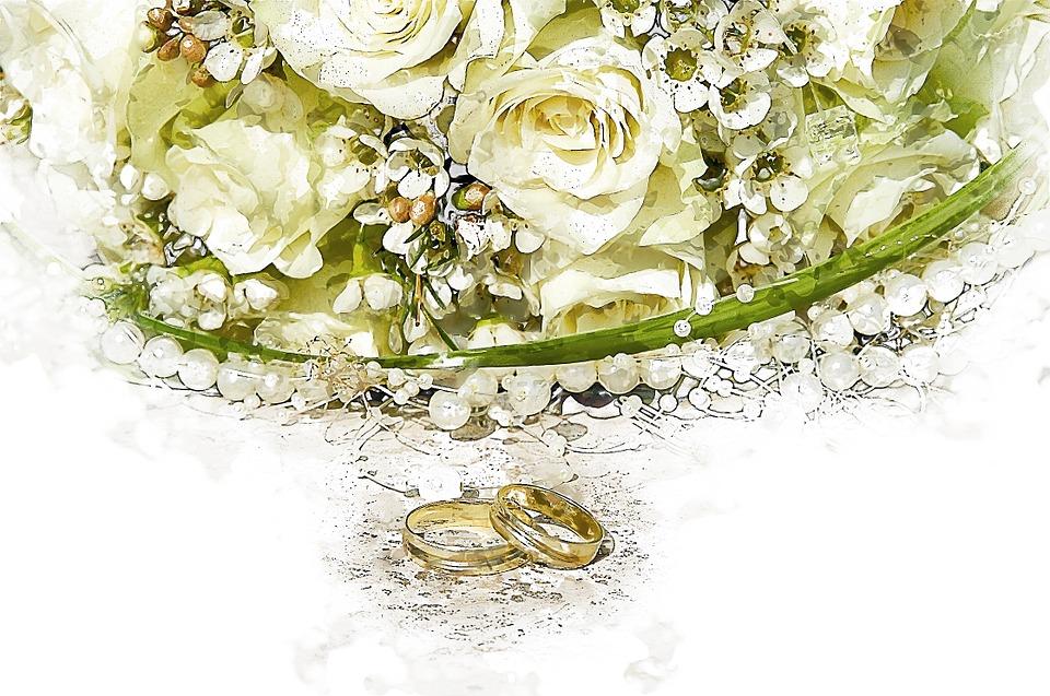 Bouquet, Ring, Wedding Ring, Rose, Green, Wedding