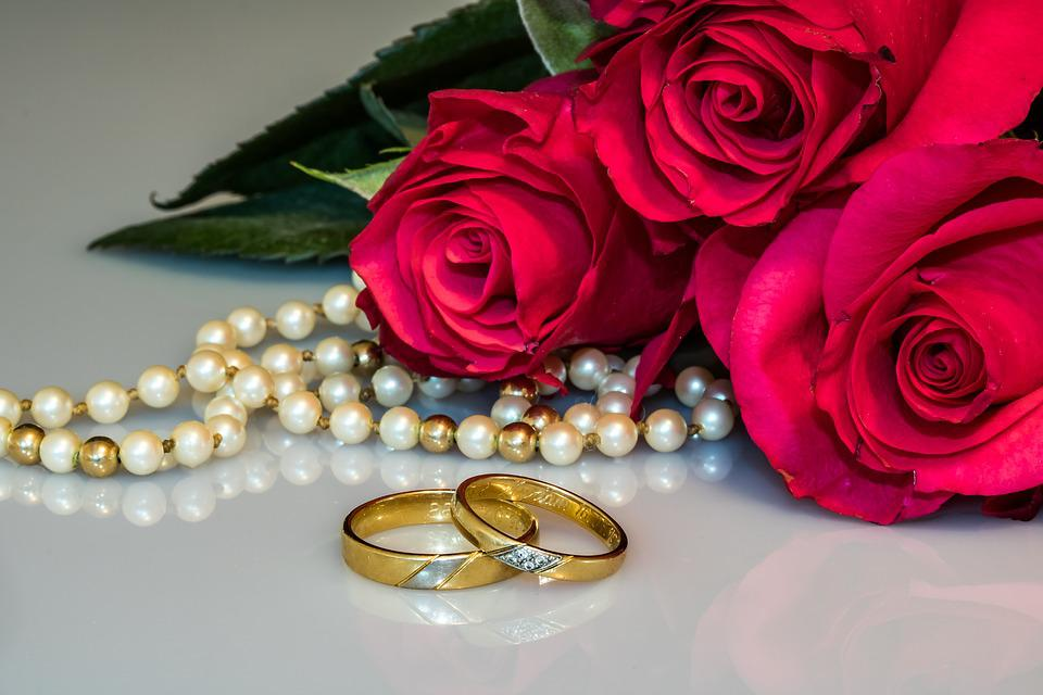 Free photo Wedding Rings Rings Gold Rings Pearl Necklace Roses Max
