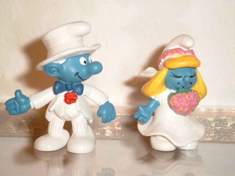 Bride And Groom, Wedding, Smurfs, Fig