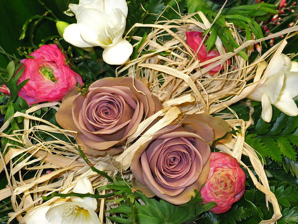 Roses, Bouquet Of Roses, Bouquet, Strauss, Wedding