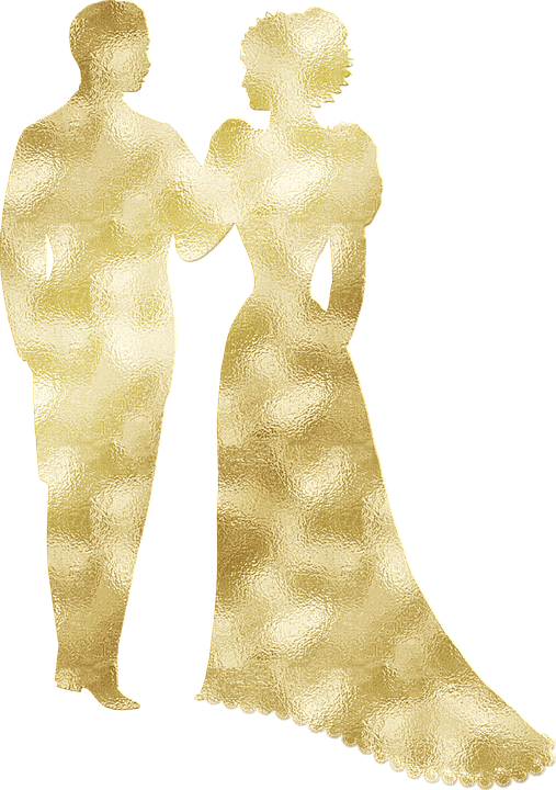 Gold Foil, Vintage Wedding Couple, Silhouette, Wedding