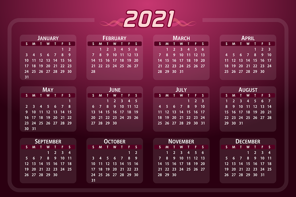 Free photo Weeks Year Days Date Calendar 2021 Daily Months ...