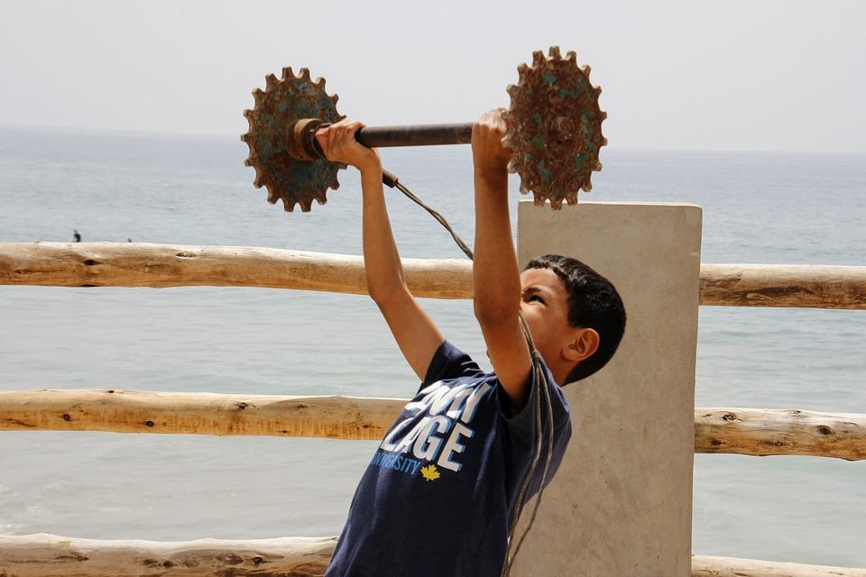 Body Building, Weight, Weightlifting, Child, Boy