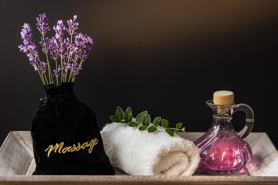 Wellness, Carafe, Purple, Towel, Rolled, Herbs