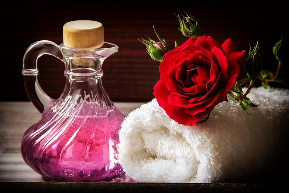 Wellness, Carafe, Purple, Towel, White, Rolled, Rose