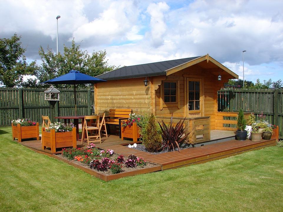 Wendy House, Decking, Flowers, Grass, Lawn, Deck