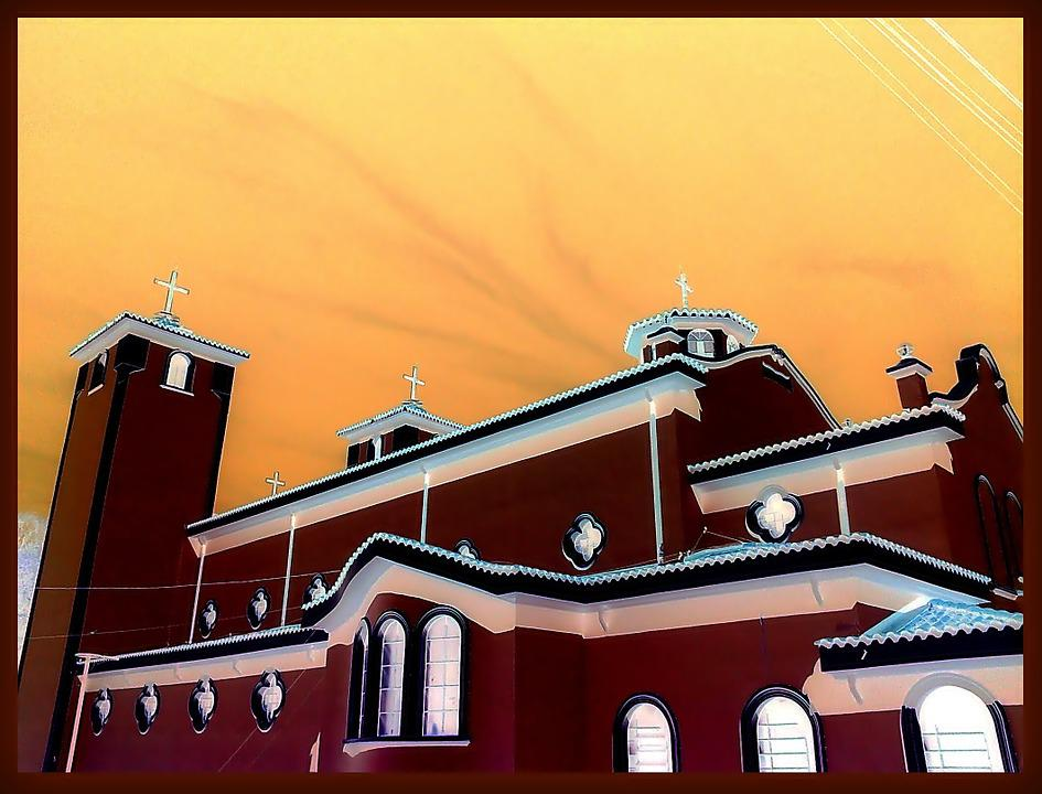 Church, West, Painting, Sky, Silhouettes, Architecture