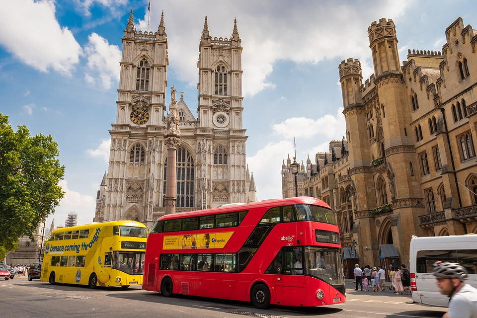 London, Bus, Yellow, Red, Westminster, Abbey, Church