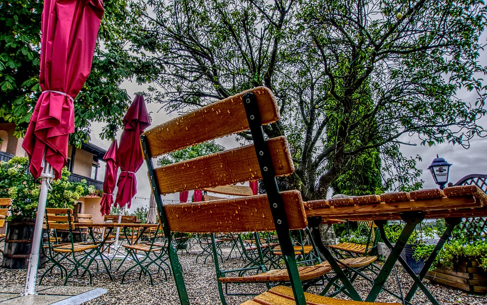 Beer Garden, Rain, Chair, Table, Parasol, Wet, Drip