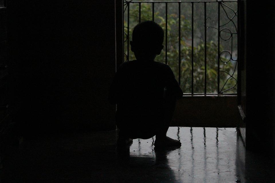 Waiting, Rain, Child, Wet, Window, Door, Sit, Boy