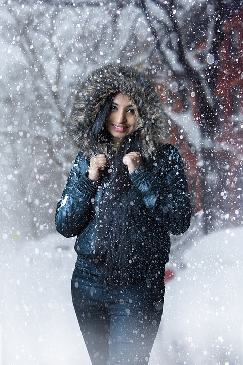 Winter, Snow, Wet, Woman, People