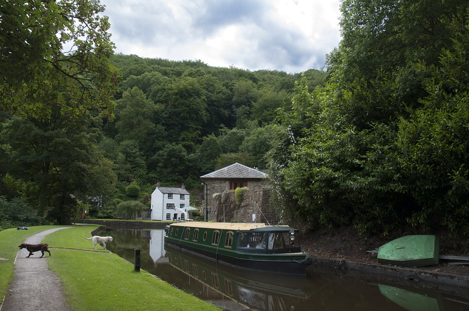 Llanfoist, Wharf, Boat, Water, River, Forest, Landscape
