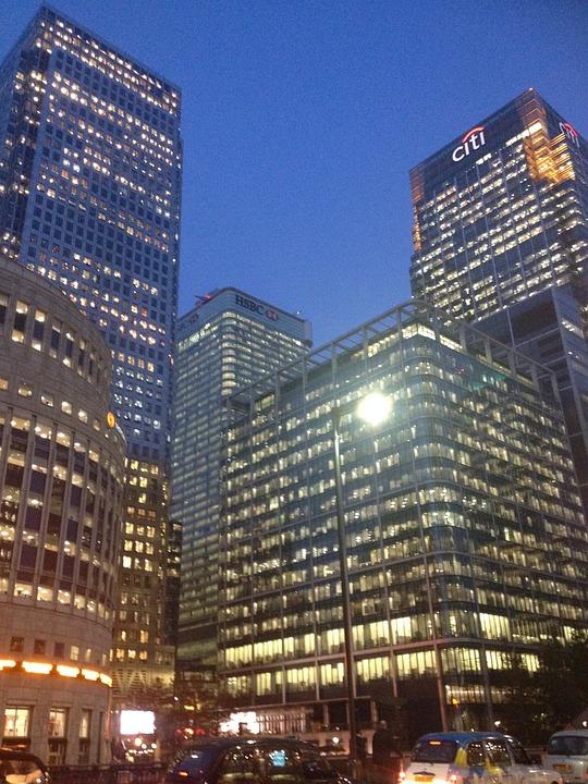 Canary Wharf, Night, Lights, Canary, Wharf, Buildings