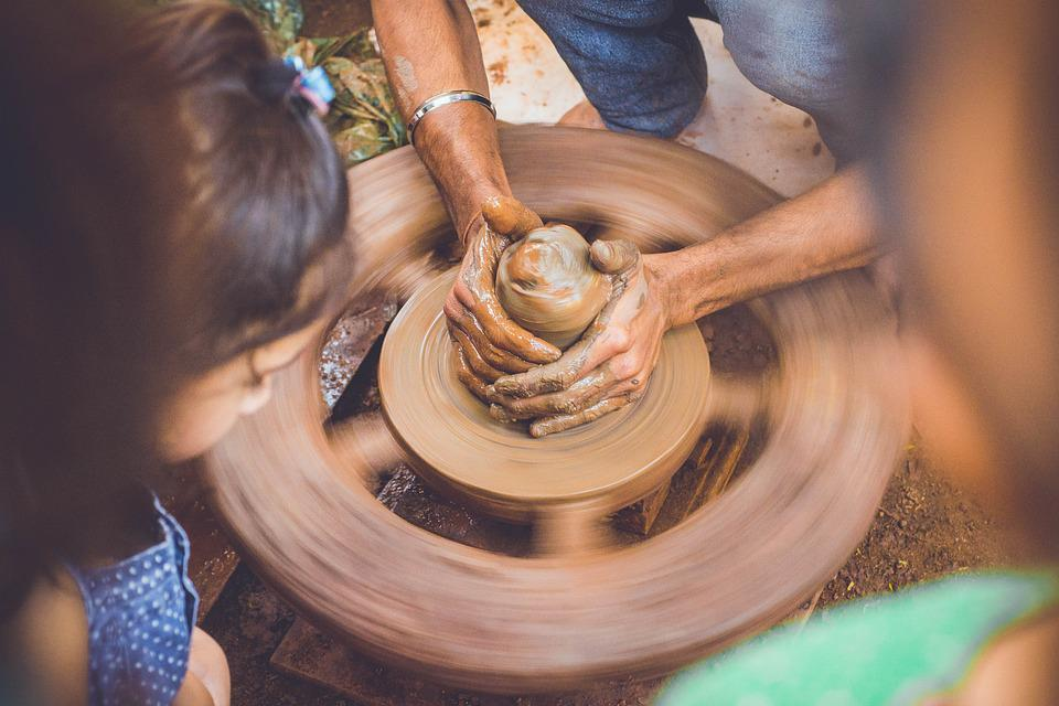 Hands, Slow Motion, Pot, Brown, Wheel, Mud