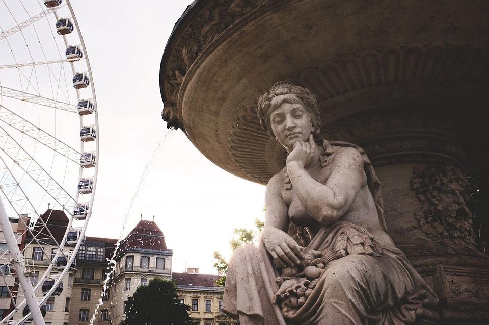 Budapest, Fountain, Sculpture, Wheel
