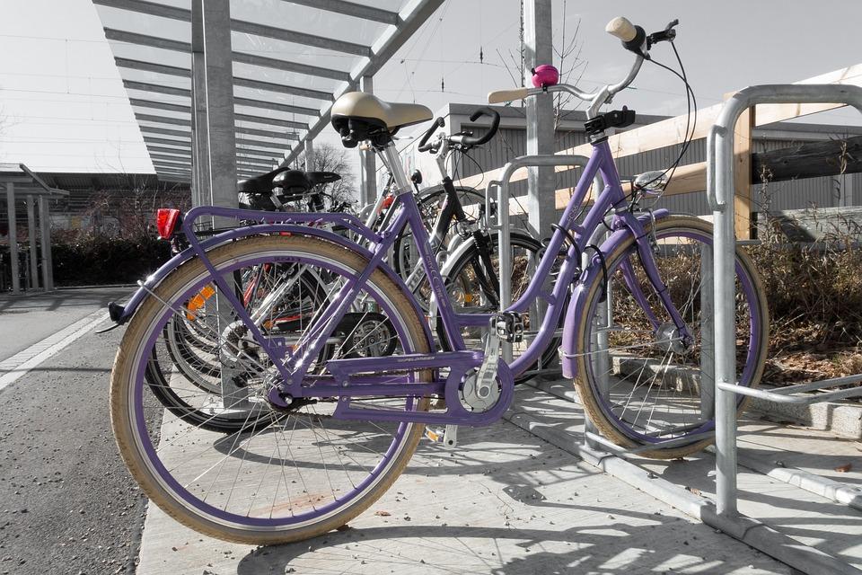 Bike, Parking Space, Wheel, Violet, Park, Bikes