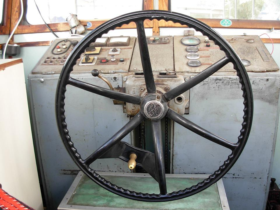 Boat, Wheel, Ship, Steering, Old