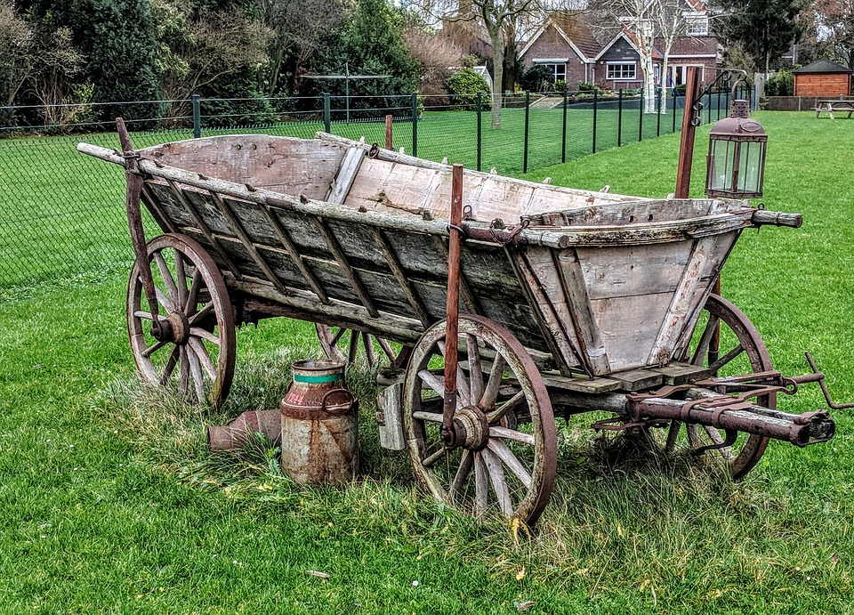 Carry, Slide, Wagon, Grass, Wheel, Wood