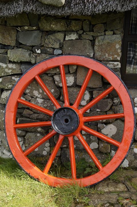Wagon Wheel, Carriage Wheel, Wheel, Wooden Wheel, Old