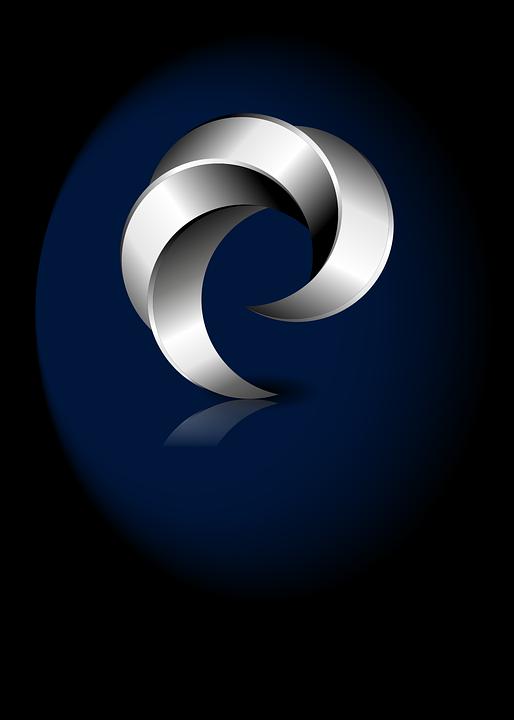 Logo, 3d, 3 Dimensional, Metallic, Shiny, White, Grey