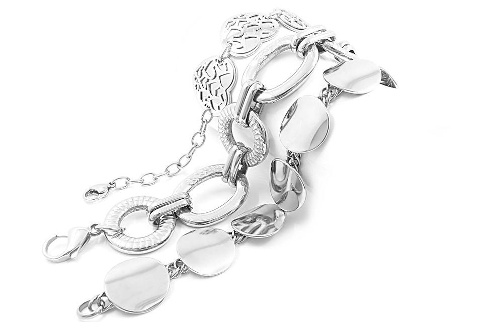 Stainless, Background, White, Bracelet, Steel, Gold