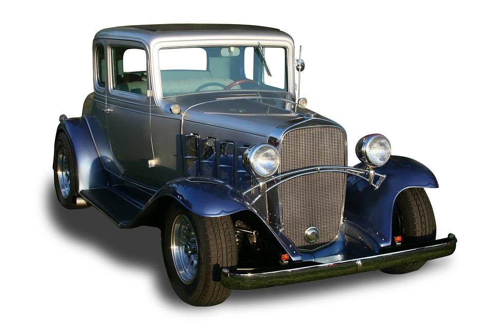Vintage Car, Hot Rod, Coupe, White Background