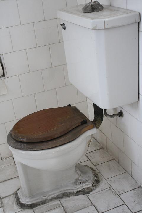 Toilet, Bathroom, Restroom, White, Old, Dirty, Retro