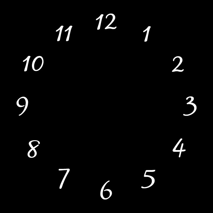 Clocks, Black, Square, White, Numbers, Timepiece