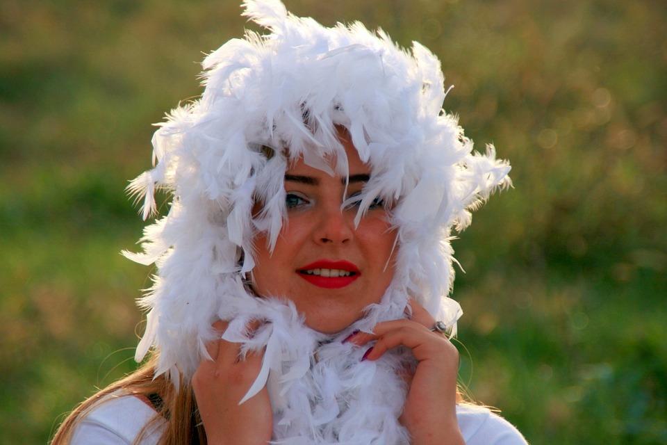 Girl, Blond, Green Eyes, Snowflakes, Feather, White