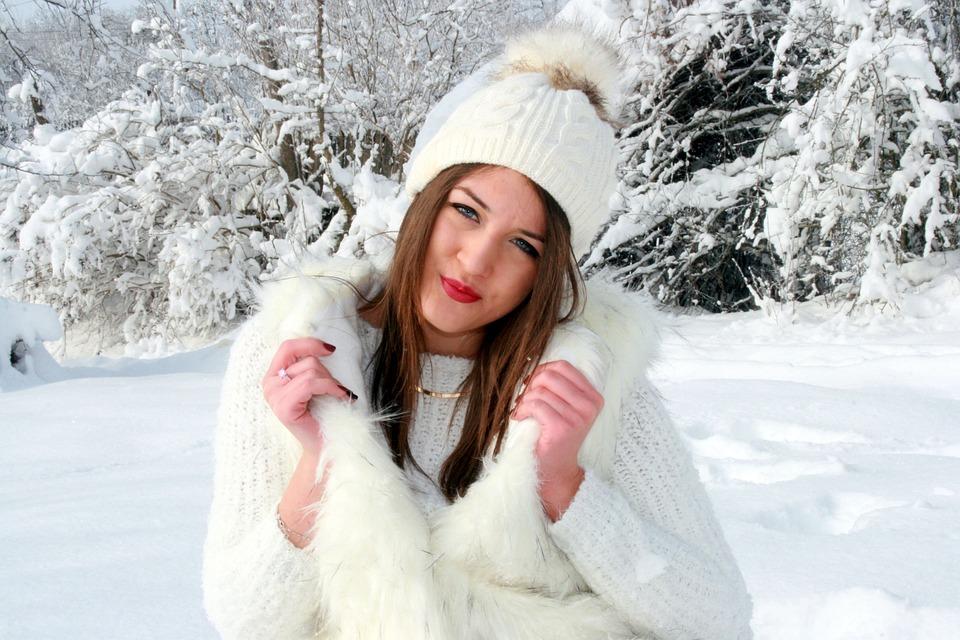 Girl, Snow, White, Feerie, Winter, Blonde, Blue Eyes