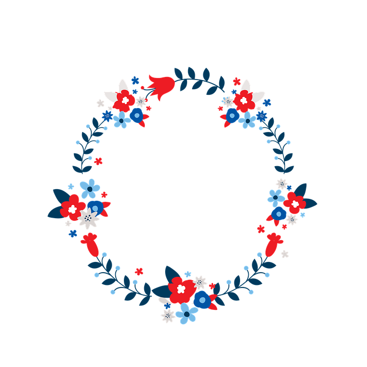 Wreath, Red, White, Blue, Isolated, Floral