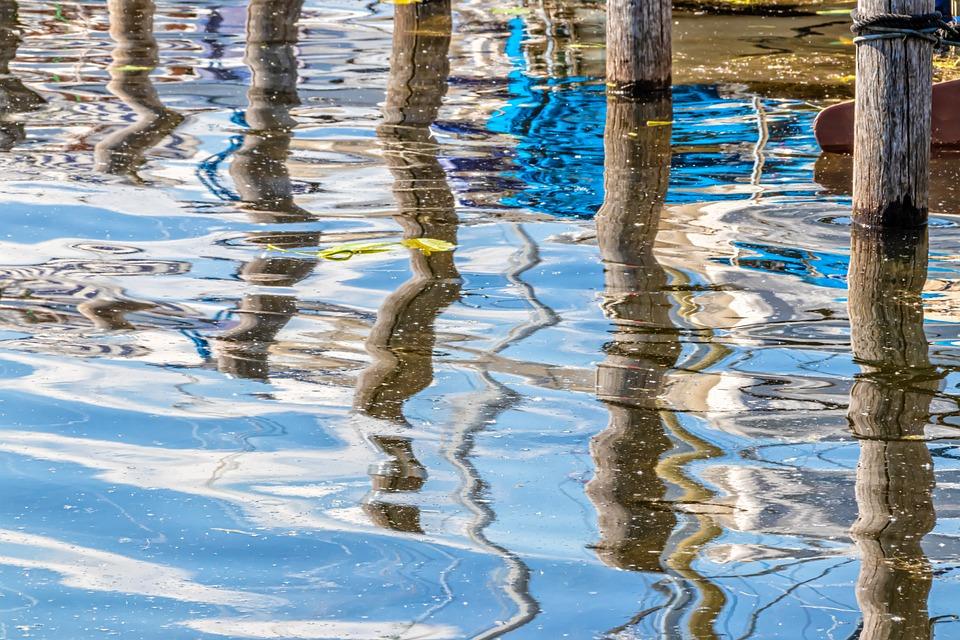 Mirroring, Post, Water, Wave, Pillar, Blue, White