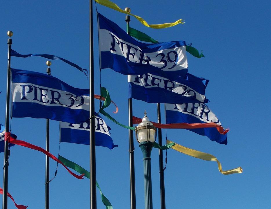Pier 39, San Francisco, Flags, California, Blue, White