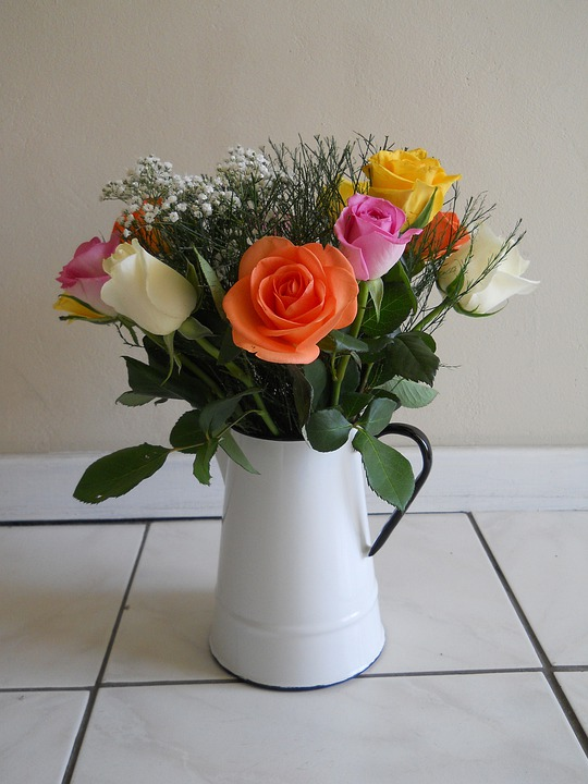Flowers, Pretty, Roses, Greenery, Bouquet, Jug, White