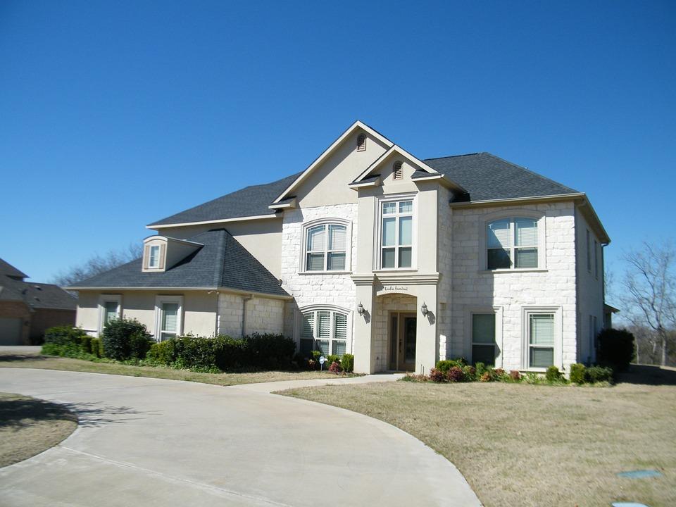 White Brick Home, Blue Sky, Driveway, Architecture