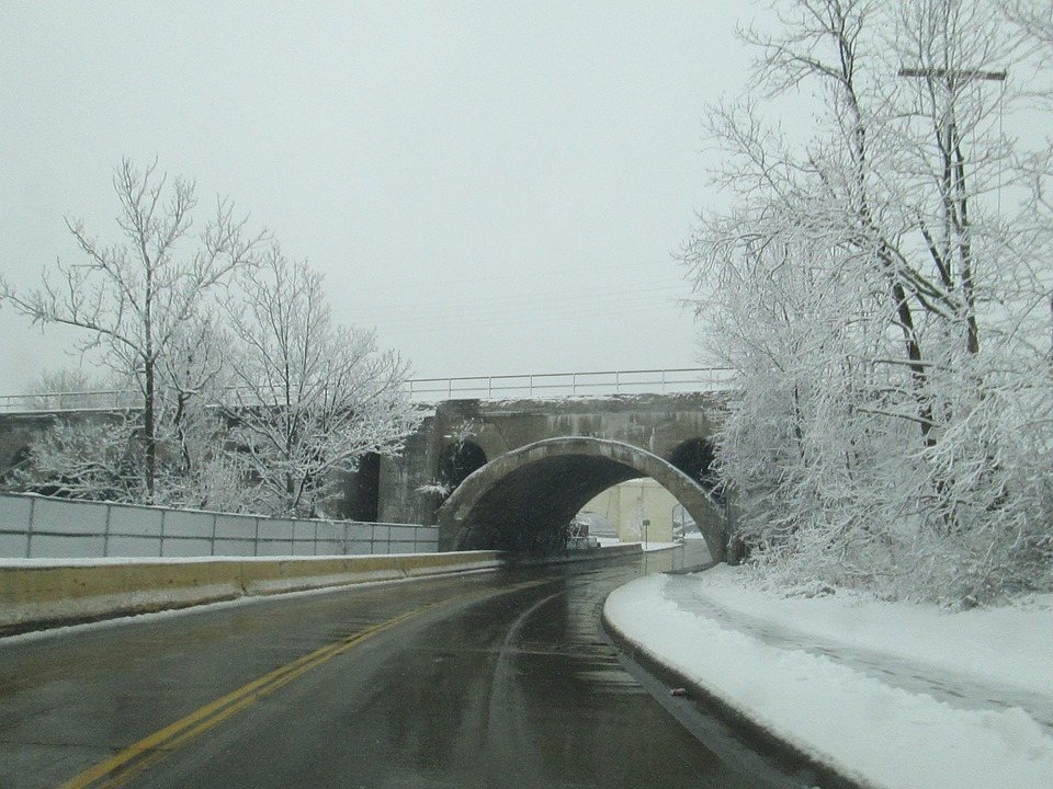 Street, Road, Winter, Bridge, Frozen, White, Gray