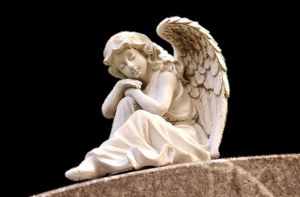 Angel, Sculpture, White, Figure, Cemetery, Faith, Hope