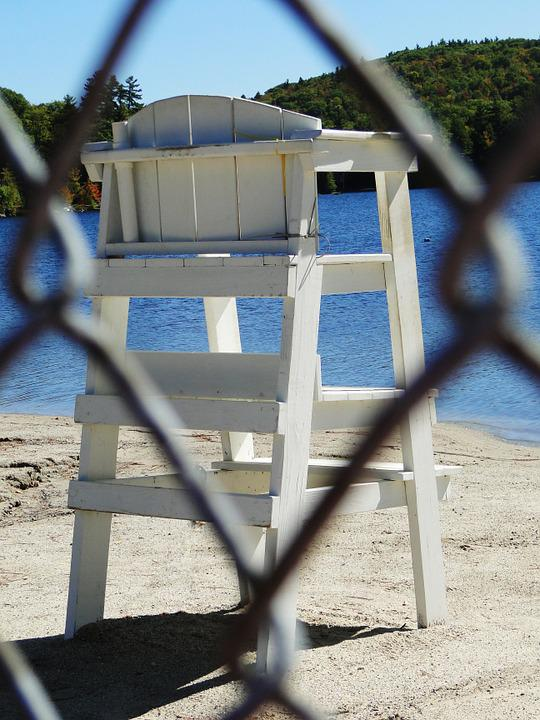 Lifeguard, Chair, Stand, Beach, Lake, Empty, White