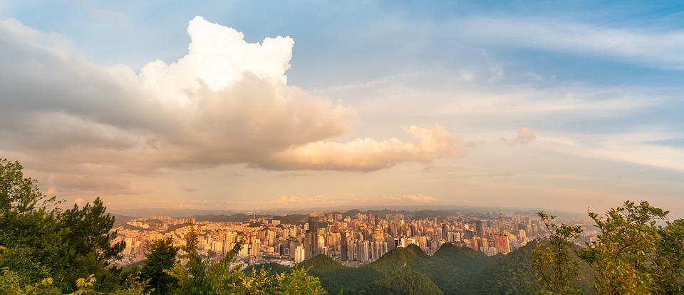 White Cloud, Cumulus, City, Cityscape, At Dusk
