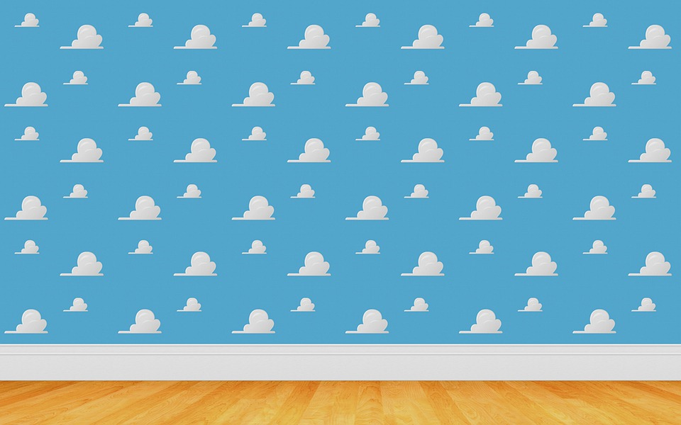 Toy Story Background, Clouds, White Clouds, Blue, Floor