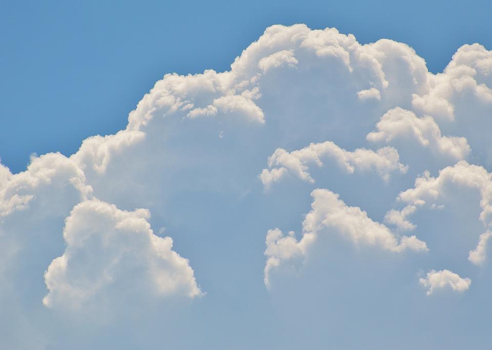 Cumulus Clouds, Sky, White, Blue, Clouds, Sun