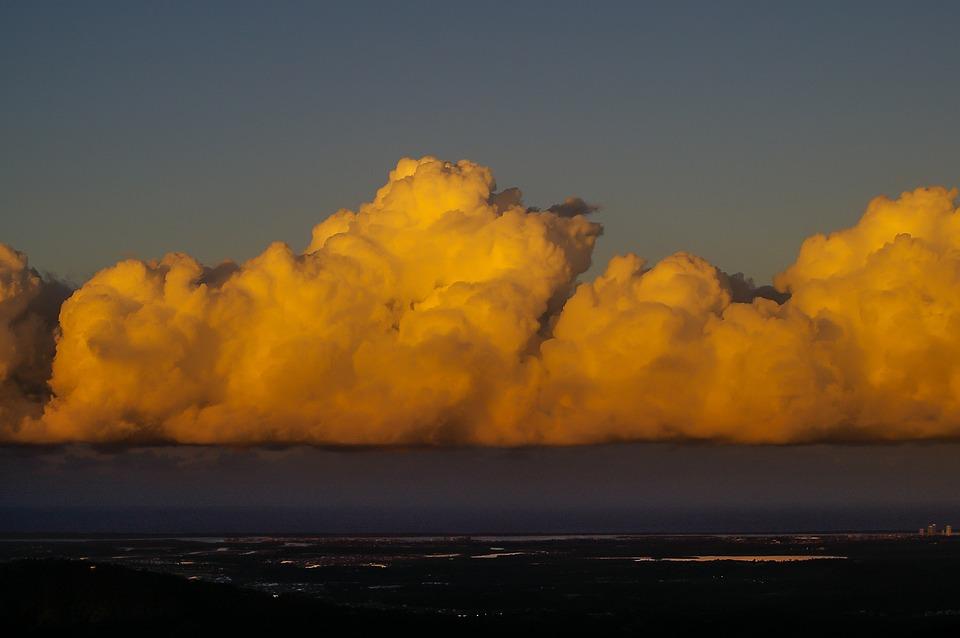 Clouds, Sky, Orange, White, Grey, Coast, Ocean
