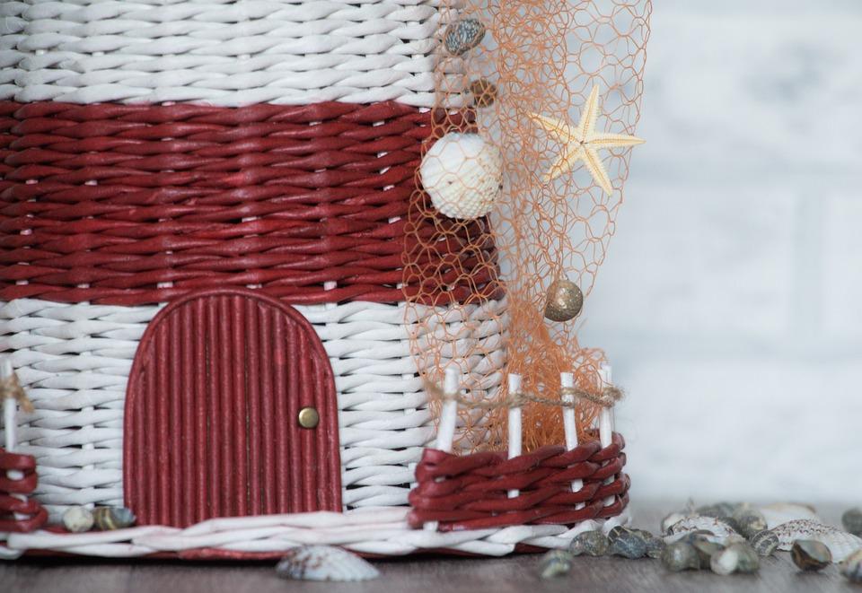 Handmade, Red, White, Shell, Door, Weaving, Net, Fence